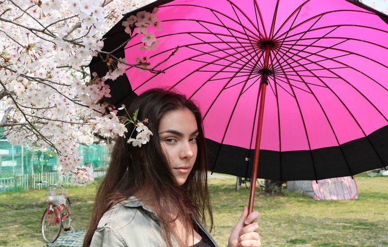 Young Woman with Parasol Youth Youth Culture Teenager Young Woman Side View Springtime Cherry Blossom Pink Color Happiness Looking Through Window Looking At Camera Smiling Cherry Blossoms Parasol Outdoors Hair Beautiful Woman Brown Hair Holding Adult Tree Real People Nature Plant Long Hair Young Women Headshot Hairstyle Umbrella Protection Young Adult Portrait One Person My Best Photo