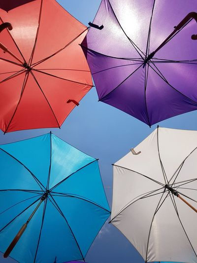 Umbrella Umbrellas Umbrella☂☂ Colors Colorful Colored Background Lookup Backgrounds Full Frame Blue Sky Close-up Parasol
