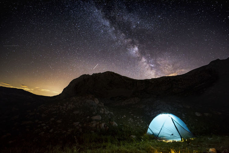Hiking Astronomy Beauty In Nature Camping Environment Galaxy Hikingadventures Landscape Milky Way Mountain Mountain Peak Nature Night No People Non-urban Scene Outdoors Scenics - Nature Sky Space Star Star - Space Star Field Tent Tranquil Scene Tranquility