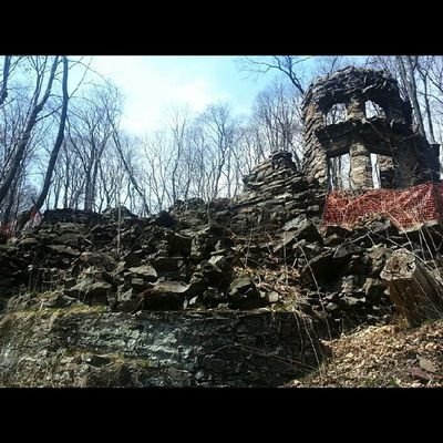 The Old Castle, Dr. Bertine S. Erwin 1893 Asapacker Lehighcoalandnavigation Mauchchunk hillroad ruins fire crumbling stone creepy abandoned historical mountains impossible location bearmountain sky trees ruraldecay Victorian