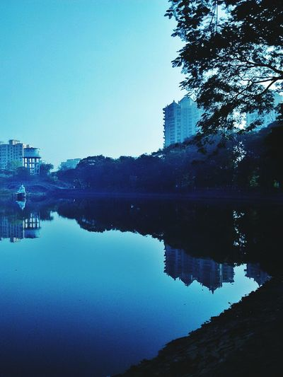 This Moring Good Morning Early Morning Blues Lakeshore Lakecity Water Reflections Waterscape Mirror Bluehour Blue Buildings Urbanphotography Urbanscape Mumbai_igers