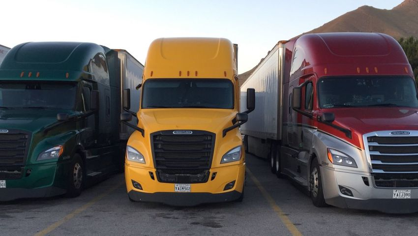 Transportation Mode Of Transport Semi-truck Land Vehicle Stationary Yellow No People Day Outdoors Sky Daimlertesting Daimlerchrysler Daimler Truckerslife Truck Newgeneration Freightliner Freight Transportation
