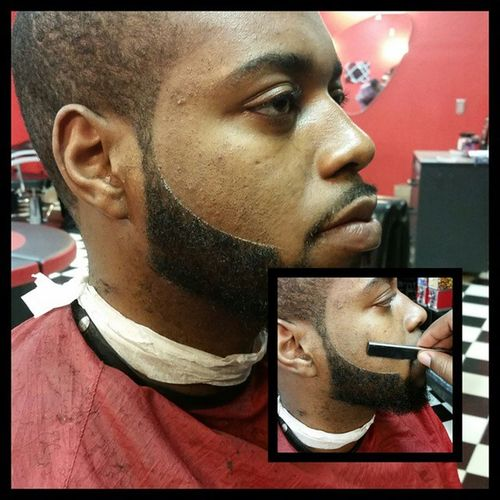 edged the beard.. no dye just trimmers and a razor. I love the art that I do. Come see me and the rest of the crew at @sophista_cutz Barbershopconnect BarberHustle DFW SophistaCUTZ Dallas Dallascowboys DallasMavericks Arlington  AggTown DallasBarbers Arlingtonblackbarber Uta Utarlington Tcu Texas