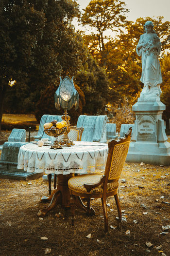 Cemetery Gothic Victorian Architecture Chair Creativity Day Electric Lamp Furniture Human Representation Moody Nature No People Outdoors Plant Representation Sculpture Seat Statue Table Tree