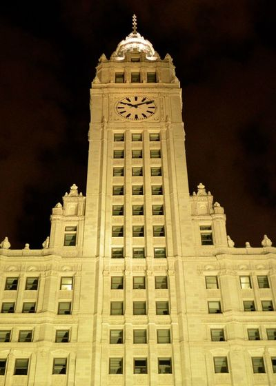 Chicago Wrigley Building Architecture Building Building Exterior Built Structure City Government History Illuminated Low Angle View Nature Night No People Outdoors Sky Tall - High The Past Tourism Tower Travel Travel Destinations