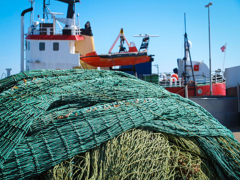 Clear Sky Composition Cultures Day Denmark Destination Fisherman Harbor Net Outdoors Perspective Rope Sea Sea And Sky Seaside Sky Tradition Economy Food Production Fisherboat Fishernet Environment