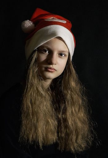 Studio Shot Black Background Portrait Long Hair One Person Headband Looking At Camera Young Adult People