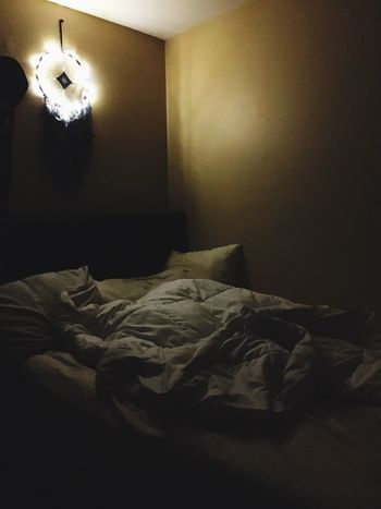 Indoors  Bedroom Bed Home Interior No People Day Light Gods Eye Dream Catcher Fairy Lights Tree Lights Night Sleepy Messy Soft Tired