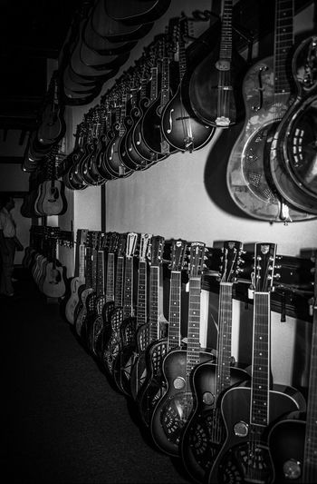Guitar Town; Guitars Mandolin In A Row Large Group Of Objects Group Of Objects Musical Instruments Music Instrument Film Film Photography Kodakfilm Black And White EyeEm Best Shots - Black + White Analogue Photography EyeEm Bnw Musiccity Analog Photography EyeEmStreetshots Eye4black&white  Nashville TN