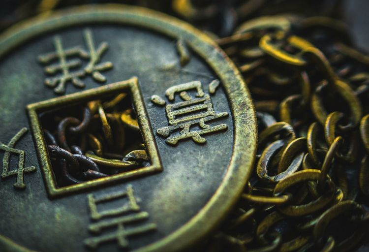 China Chinese Coin Coin Metal Metallic Metal Art Culture Chinese Style Golden Lucky Close-up History No People Gold Colored Indoors  Day Still Life Studio Shot Old Old-fashioned Week On Eyeem The Week On EyeEm
