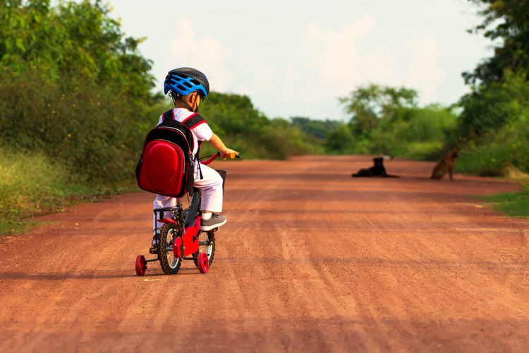 Rear view of boy riding bicycle on road against trees and sky