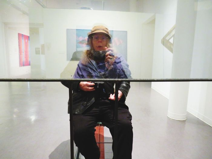 Fun at the art gallery Two People As One EyeEm Selects One Person Reflection Real People Lifestyles Young Adult Indoors  Selfie Casual Clothing Front View Visual Creativity Visual Creativity Human Connection