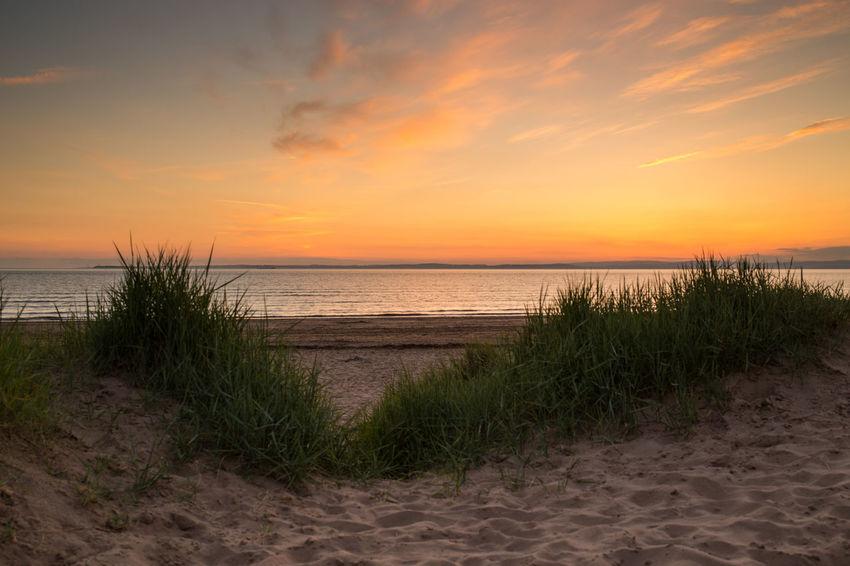 Sand Bay Somerset England Beach Beauty In Nature Cloud - Sky Grass Horizon Horizon Over Water Idyllic Marram Grass Nature No People Orange Color Outdoors Sand Sand Dunes Sandy Beach Scenics - Nature Sea Sky Sunset Tourism Tranquil Scene Tranquility Water