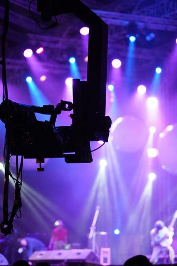 Close-up of illuminated stage