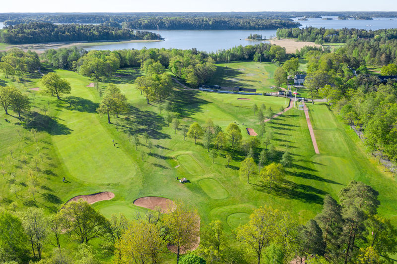 High angle view of golf course