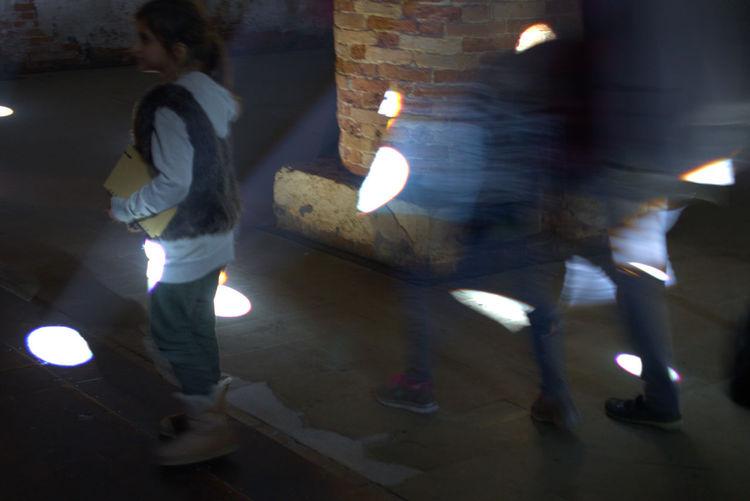 Biennale 2016 Blurred Motion Color Contemporary Art Defocused Glowing Illuminated Indoors  Lighting Equipment Night Out Of Focus Real People Street Urban Skyline Walking Women