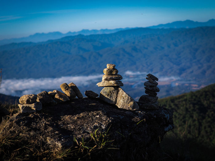 Mountain Rock Nature Sky Solid Tranquility No People Scenics - Nature Beauty In Nature Environment Stack Mountain Range Balance Mountain Peak Outdoors Plant Rock - Object Non-urban Scene