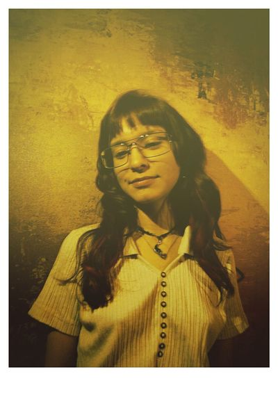 """""""1968"""" Glasses 1968 70s Orange 70s Auto Post Production Filter One Person Front View Young Adult Real People Women One Young Woman Only Young Women Lifestyles Indoors  Close-up Human Hand Adult People"""