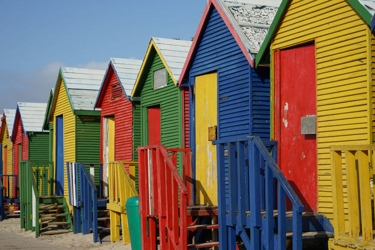 Panoramic view of beach huts against buildings