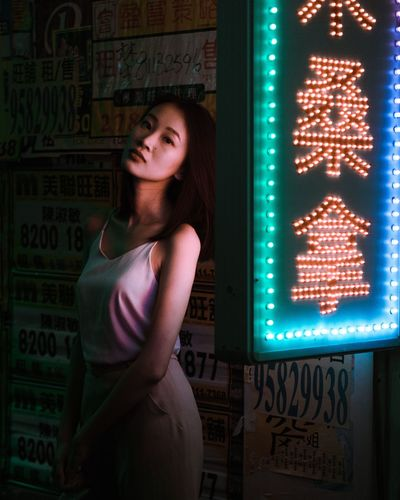 Adult One Person People Close-up Neon Young Adult Neon Life EyeEm Selects Hong Kong City Urban Exploration Beautiful Woman Urban Portraits Portrait Of A Woman Women Who Inspire You Fashion Photography Urban Photography Portrait Of A Friend Illuminated Outdoors Portrait Nightlights Night Life Nighttime
