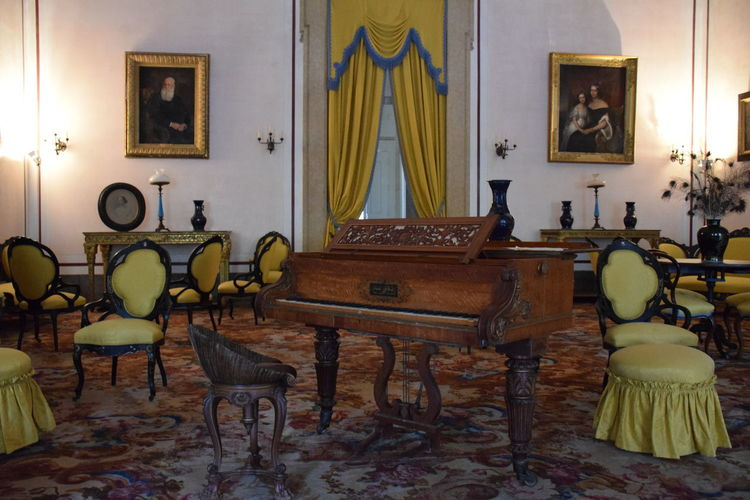 Piano Home Interior Living Room Day Chair No People Colorful Yellow TranquilityIndoors  Enjoying The Moment Contrasting Colors Contrast Taking Photos Enjoying Life Enjoying Silence Silence First Eyeem Photo at Convento De Mafra, Portugal
