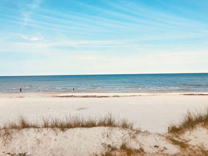 Sea Water Land Sky Beach Horizon Over Water Scenics - Nature Beauty In Nature Horizon Tranquil Scene Tranquility Sand Non-urban Scene Travel Idyllic Marram Grass Analogue Sound