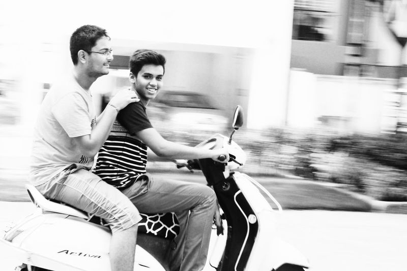|RIDE OF JOY|City Outdoors Happiness Day Lifestyles Fun Two People Motion Blur Motion Photography Photography Scooty Speed