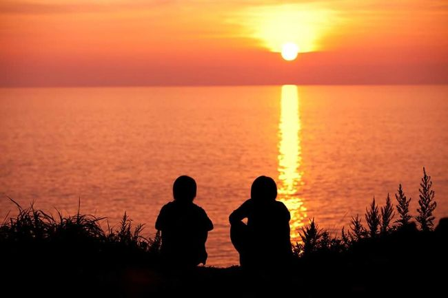 Sunset Two People Sea Sun Horizon Over Water Nature Friendship Sky Beauty In Nature Japan