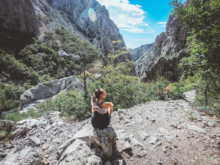 Paklenica view Croatia Paklenica Mountain Hiking Lifestyles Real People Nature Leisure Activity Plant Day Sunlight One Person Outdoors Women