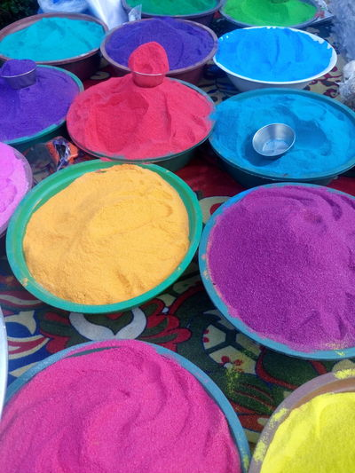 Art And Craft, Circle Day Diwali Holi Indian Culture, Market Market Stall Merchandise Multi Colored No People Powder Paint Religion Retail  Vertical