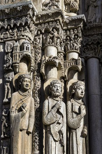 Architecture Chartres Chartres Cathedral France Gothic Gothic Architecture Architecture Art And Craft Belief Carving Carving - Craft Product Craft Creativity Gothic Church Gothic Style History Human Representation Male Likeness Ornate Place Of Worship Religion Representation Sculpture Spirituality Statue