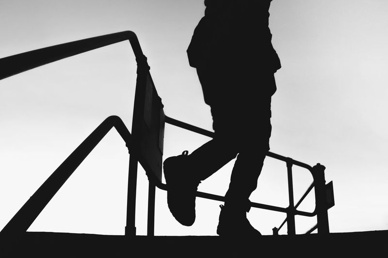 Jack. Real People Silhouette Sky One Person Low Angle View Climbing Clear Sky Day Jungle Gym Outdoors Heelys Bnw Walking Traveling Home For The Holidays Welcome To Black