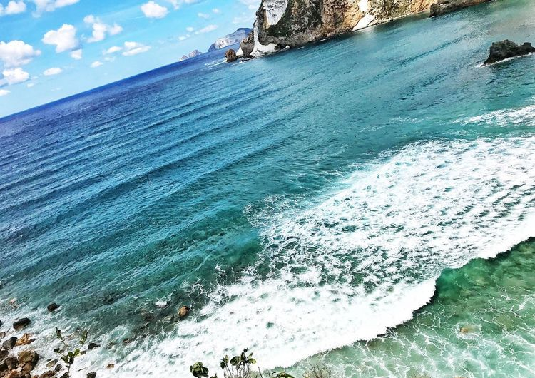 Waves Island Ponza Italy Water Sea Nature Day Beach Land Beauty In Nature Sky Scenics - Nature Sport Outdoors Aquatic Sport High Angle View No People Tranquil Scene Motion Tranquility Wave