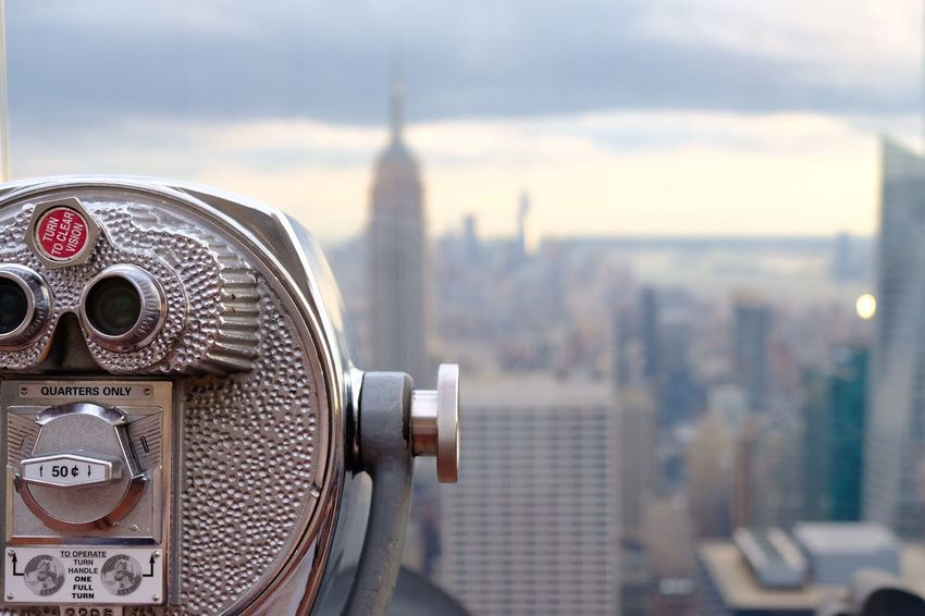 Coin Operated Coin-operated Binoculars Binoculars Metal Hand-held Telescope Cityscape City Tourism Focus On Foreground Travel No People Close-up Sky Architecture Skyscraper Building Exterior Built Structure Travel Destinations Day Outdoors New York City The Street Photographer - 2017 EyeEm Awards EyeEm Selects
