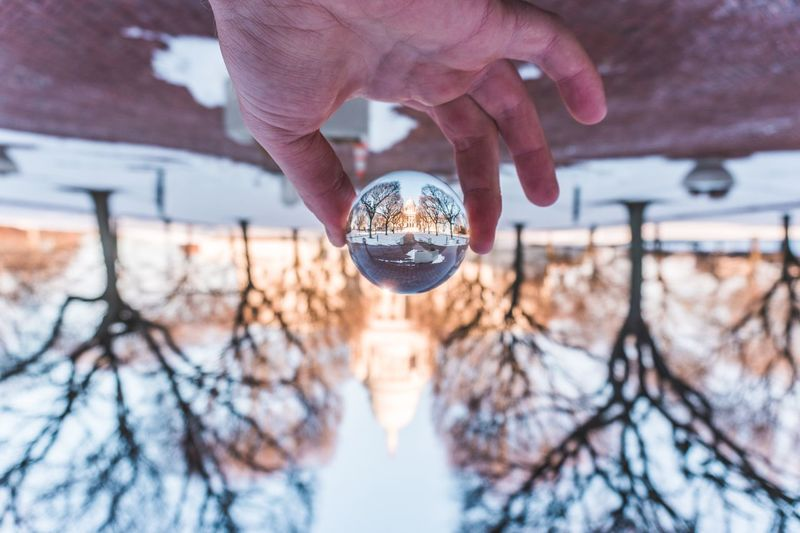 Close-up of hand holding crystal ball against bare trees during winter