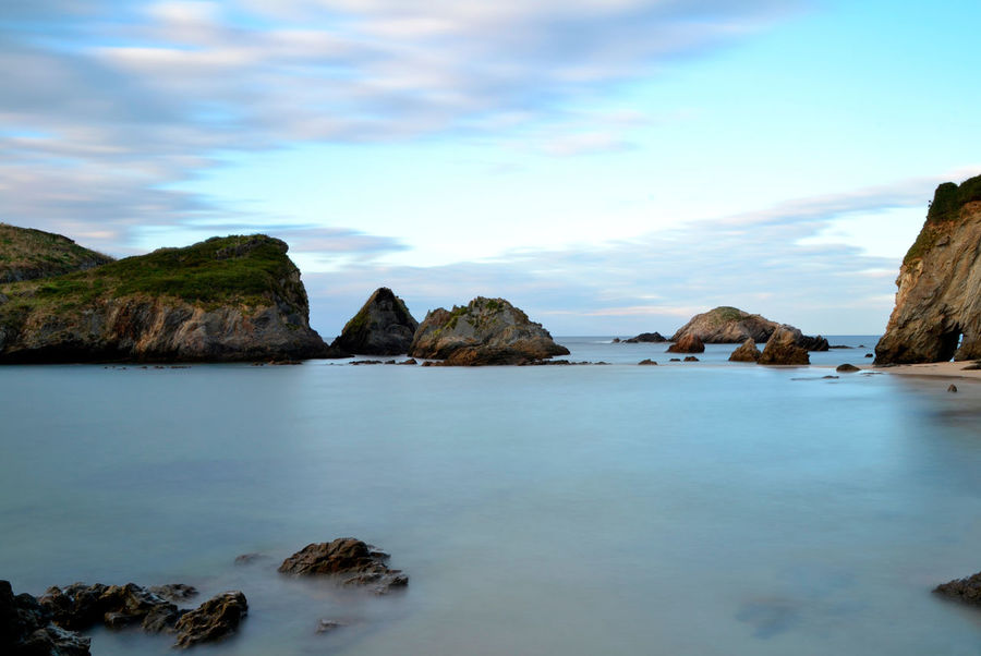 View of Porcia beach in Asturias, Spain Asturias Cantabrian Sea Porcia SPAIN Travel Beach Beauty In Nature Coast Idyllic Land Landscape Long Exposure Nature No People Outdoors Rock Rock - Object Rock Formation Scenics - Nature Sea Sea View Seaside Summer Water Waterfront