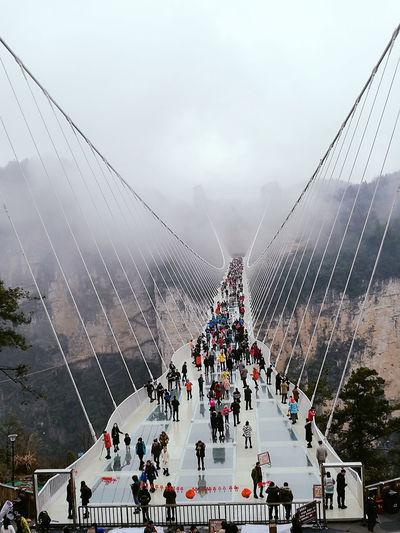 The highest glass bridge of the world, Zhang Jia Jie at China. Travel Vacations China In My Eyes Zhangjiajie Glassbridge Amazing View Nature_collection Nature Photography Photography Photoshooting Incrediblenature HuaweiP9