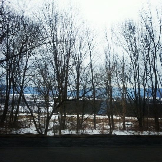 Winter road 209 Poconos Appalachia Country road trees winter mountains landscape