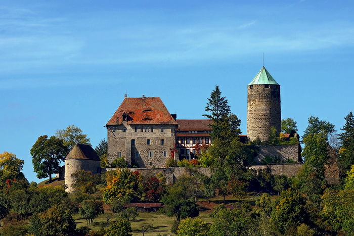 View of Burg Colmberg, situated high above Colmberg in Bavaria, Germany Bavaria Architecture Beauty In Nature Building Exterior Built Structure Castle Colmberg Day Germany History Nature No People Outdoors Sky Tower Tree
