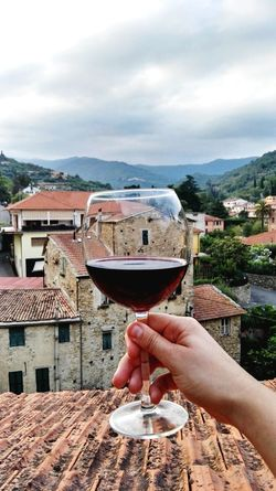 Glass Red Wine Holding Cropped Hand Unrecognizable Person Dolcedo Liguria Italy Rural Architecture Summer Copy Space Personal View