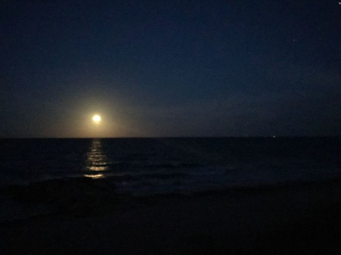 Moon over me Beach Tranquil Scene Sea Moon Water Sky Moonlight EyeEmNewHere