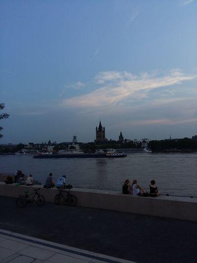 The River Rheinufer Grosssanktmartin Altstadt Rheinboulevard Köln Rhein Sunset Cologne