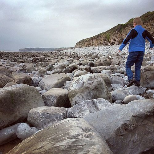 My boy Rockhopping. Wales Coastline LlantwitMajor Androidography