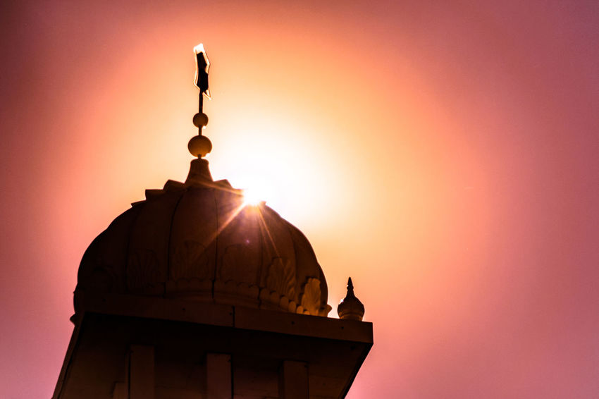 Sikh Temple Dome / Sunburst Silhouette [IR+UV] Architecture Capture The Moment Check This Out Dome Dramatic Angles Enjoying Life Exceptional Photographs Eye4photography  EyeEm Best Shots Getting Inspired Hanging Out Light And Shadow Low Angle View Majestic Orange Pink Relaxing Sikh Temple Silhouette Sky Sun Sunset TakeoverContrast Taking Photos Walking Around