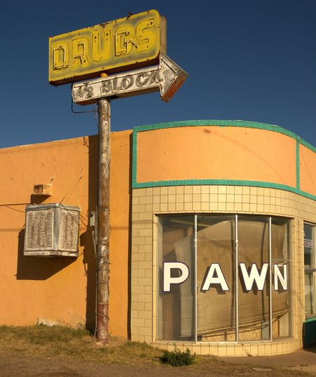 DRUGS &PAWN ~ Tucamacari, New Mexico USA ~ Sigms Route 66 Signage Neon Text Communication Western Script Built Structure Architecture Day Outdoors Building Exterior Guidance Signboard No People Sky Road Sign