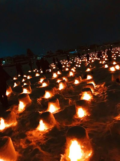 Japan Photography Japan Festival Japan Winter Festival かまくら Winter Burning Flame Heat - Temperature Glowing Night Orange Color Illuminated Outdoors