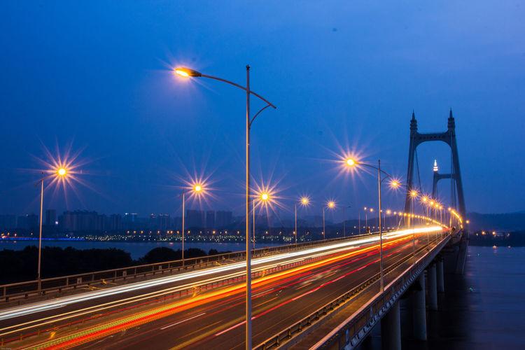 bridge in the night Illuminated Light Trail Long Exposure Motion Night Speed Street Light Traffic Transportation