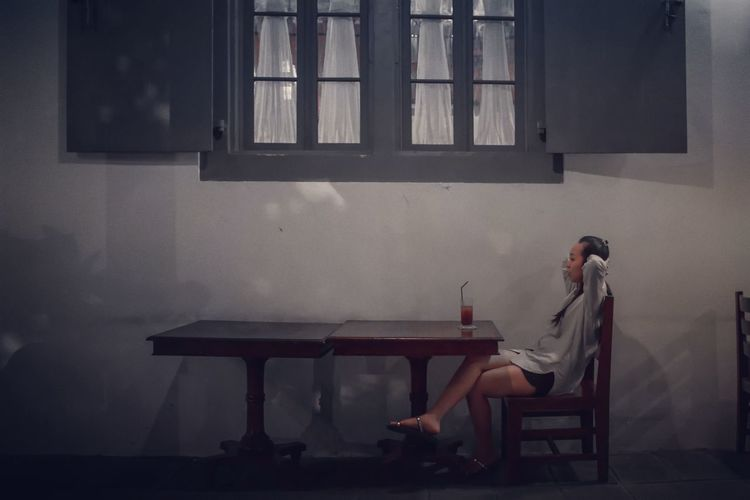 Sitting Window One Person People Young Adult Only Women Monocrhome Monochrome Photography Visitindonesia This Is Indonesia Yogyakarta
