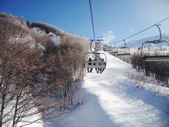 Winter Snow Cold Temperature Transportation Weather White Color Sky Mode Of Transport Nature Tree Frozen Outdoors Day Ski Lift Overhead Cable Car Beauty In Nature Land Vehicle Bare Tree Abetone First Eyeem Photo EyeEmNewHere