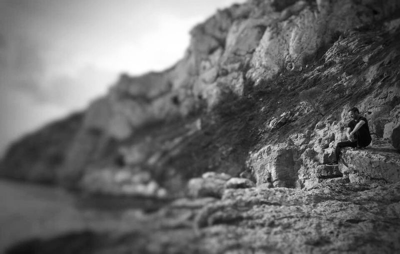 Rock - Object Textured  Rough Selective Focus Tourism Sky Travel Destinations Tranquil Scene Geology Rock Formation Sandies Seascape Seascape Seascape Photography Nature Non-urban Scene Remote Rugged Eroded Scenics Tranquility Physical Geography Cliff